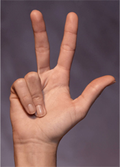Hand raised counting 3 fingers